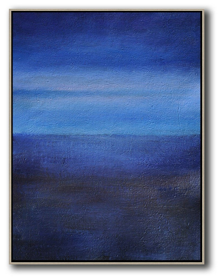 Oversized Abstract Landscape Painting,Hand Paint Large Clean Modern Art,Dark Blue,Blue,White