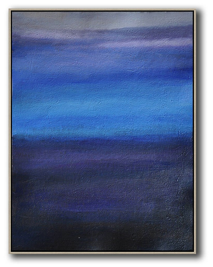Oversized Abstract Landscape Painting,Giant Canvas Wall Art,Blue,Dark Blue,Grey
