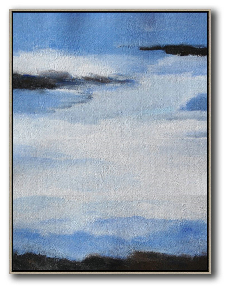 Oversized Abstract Landscape Painting,Wall Art Painting,Blue,White,Black