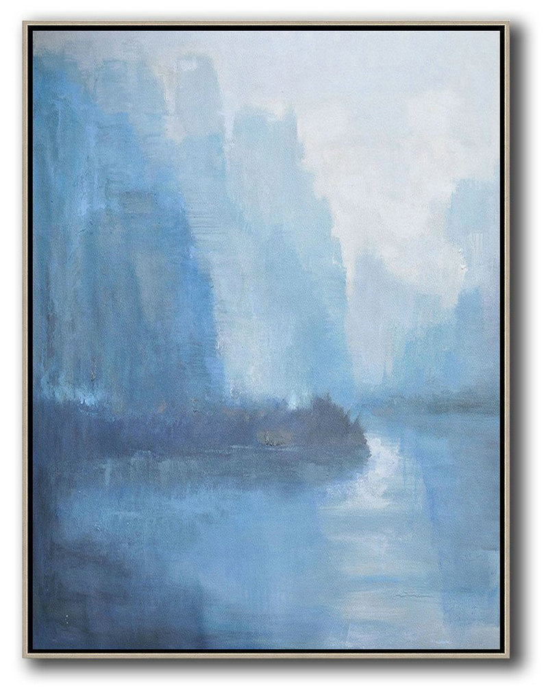 Oversized Abstract Landscape Painting,Modern Art Abstract Painting,Sky Blue,Grey,White