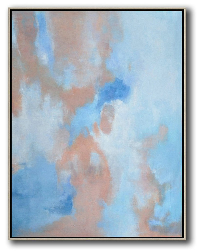 Oversized Abstract Landscape Painting,Abstract Art Decor Large Canvas Painting,Pink,Blue,White
