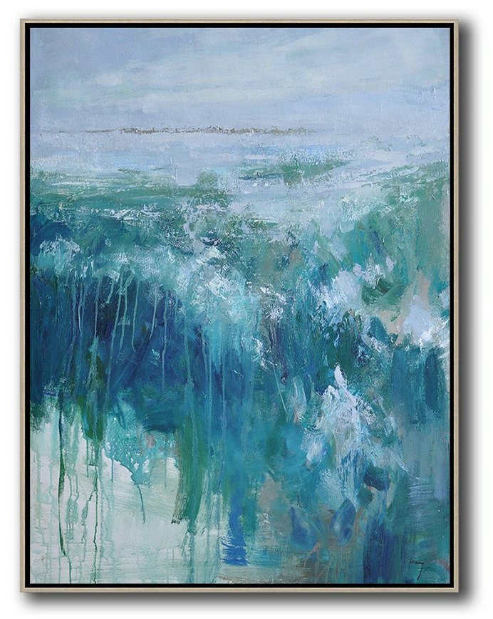 Oversized Abstract Landscape Painting,Acrylic Painting Wall Art,Grey,Dark Blue,White,Green