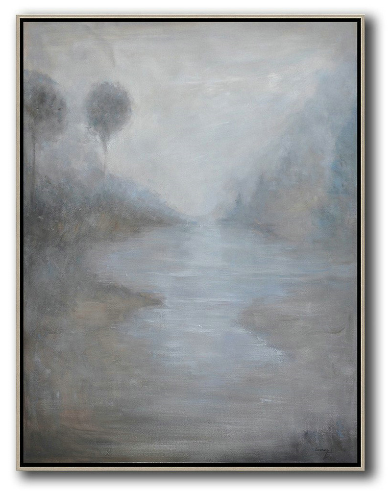 Oversized Abstract Landscape Painting,Canvas Wall Paintings,Grey,White,Blue