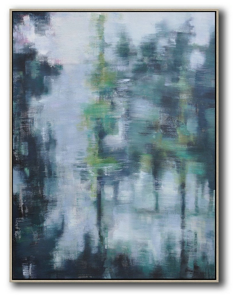 Oversized Abstract Landscape Painting,Hand Painted Abstract Art,Grey,Light Green,Black