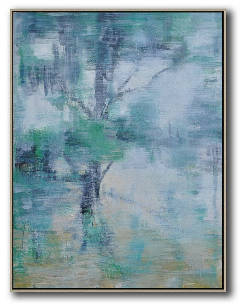 Oversized Abstract Landscape Painting,Hand-Painted Canvas Art,Grey,Yellow,Light Green