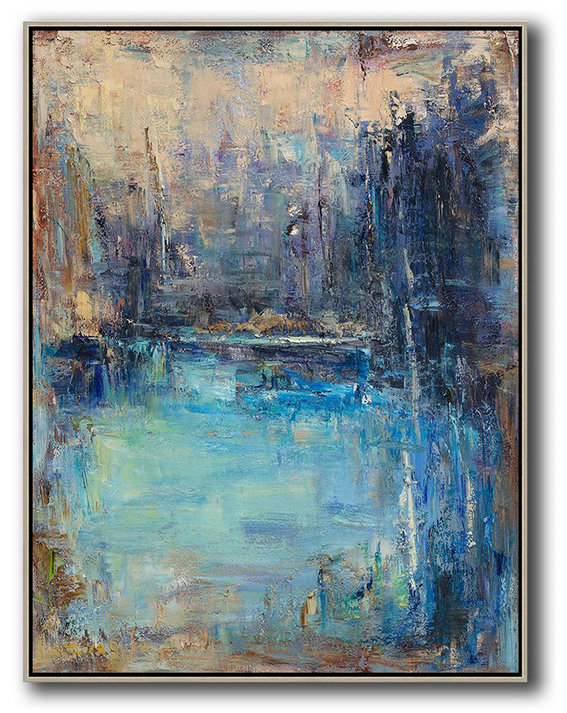Oversized Abstract Landscape Painting,Oversized Art,Maize-Yellow,Blue,Dark Blue