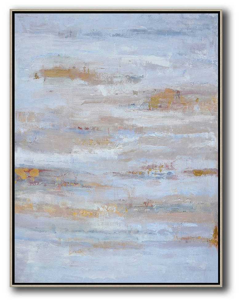 Oversized Abstract Landscape Painting,Extra Large Paintings,Blue,Grey,Gold