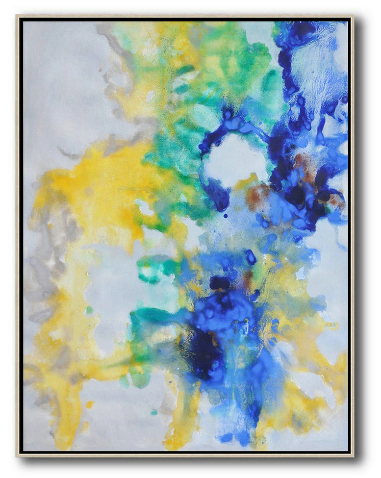 Oversized Abstract Landscape Painting,Big Art Canvas,Grey,Yellow,Green,Blue