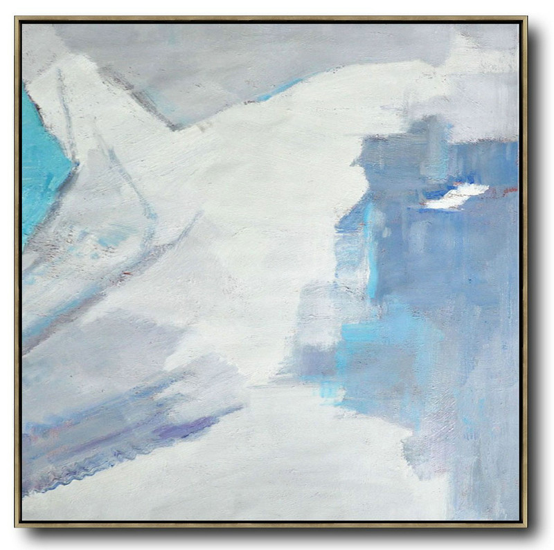 Oversized Contemporary Art,Acrylic Painting Canvas Art,Sky Blue,White,Grey