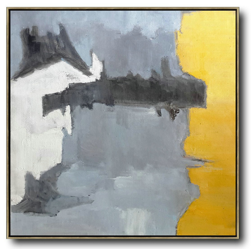 Oversized Contemporary Art,Hand-Painted Contemporary Art,Yellow,Grey,White,Black