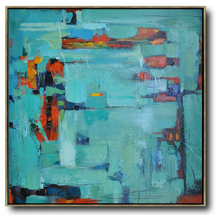 Oversized Contemporary Art,Abstract Art Decor,Contemporary Painting,Green,Blue,Red