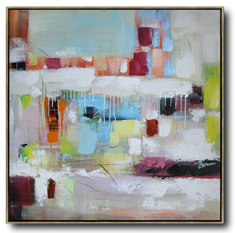 Oversized Contemporary Art,Modern Art Oil Painting,Sky Blue,Red,White,Purple