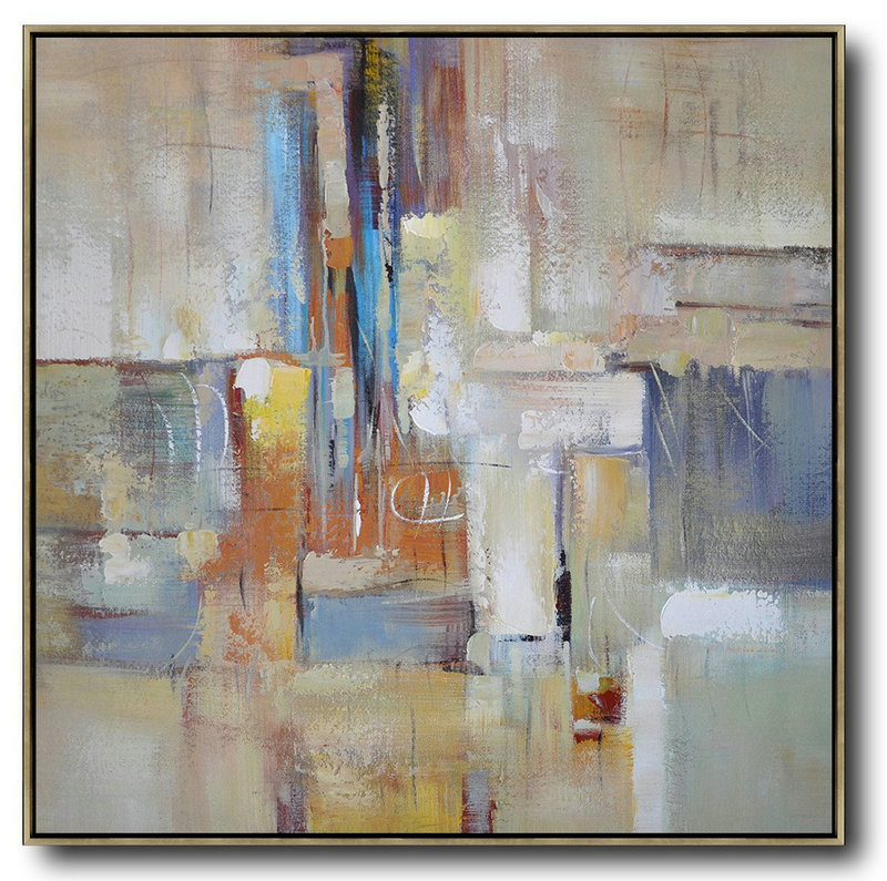 Oversized Contemporary Art,Abstract Art On Canvas, Modern Art,Taupe,Blue,White,Orange,Yellow