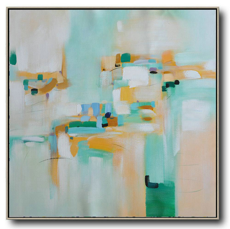Oversized Contemporary Art,Modern Painting Abstract,Green,Yellow,Blue,White