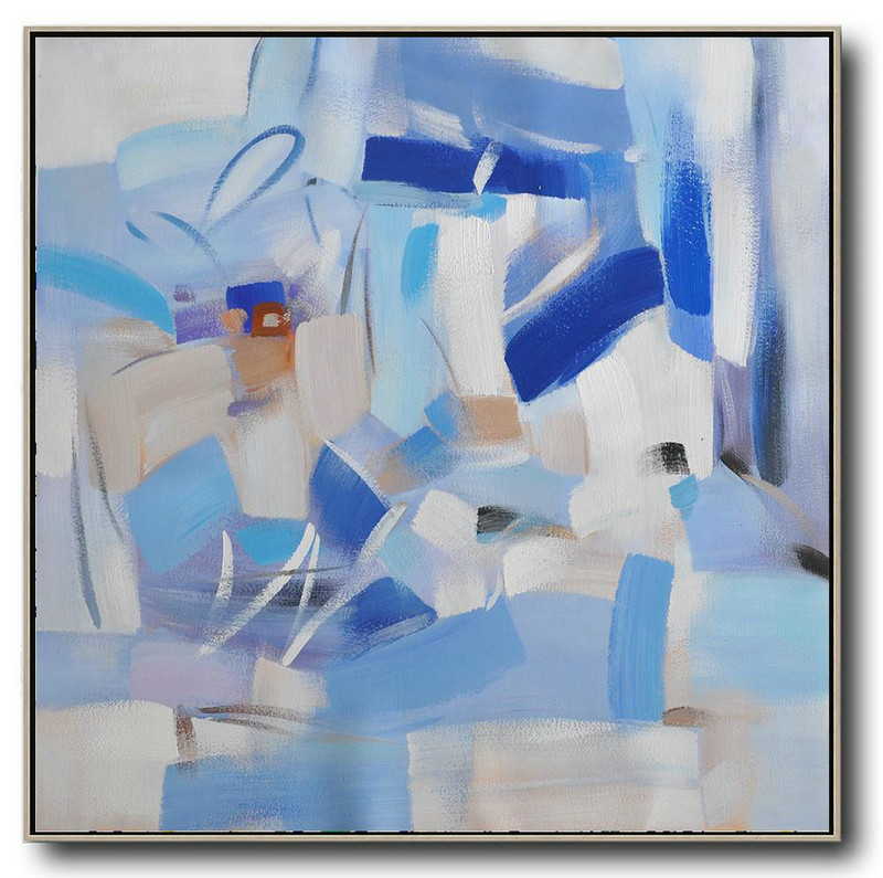 Oversized Contemporary Art,Acrylic Painting Large Wall Art,Blue,White,Sky Blue,Gray Violet