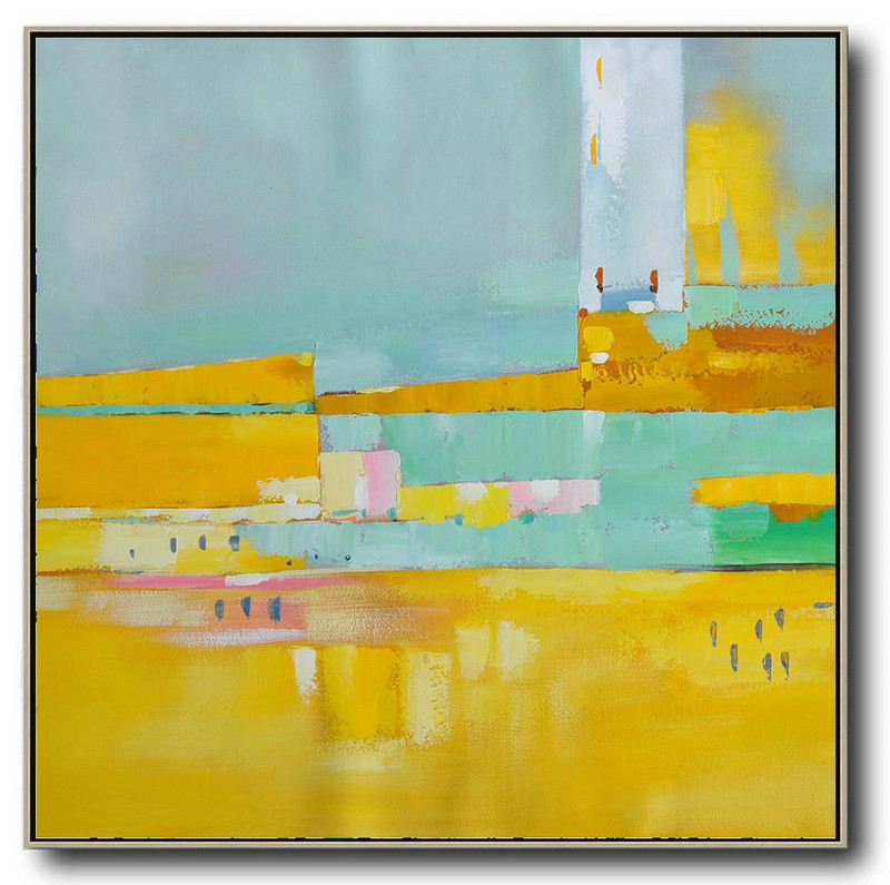 Oversized Contemporary Art,Acrylic On Canvas Abstract,Yellow,Sky Blue,Pink,White