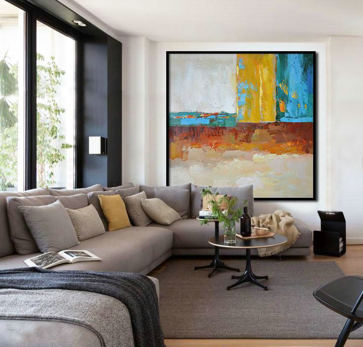 Oversized Contemporary Art,Original Abstract Art Paintings,Blue,Yellow,Orange,Dark Green