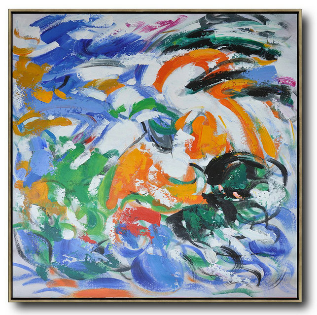 Oversized Contemporary Art,Hand-Painted Canvas Art,Blue,Orange,Yellow,Green