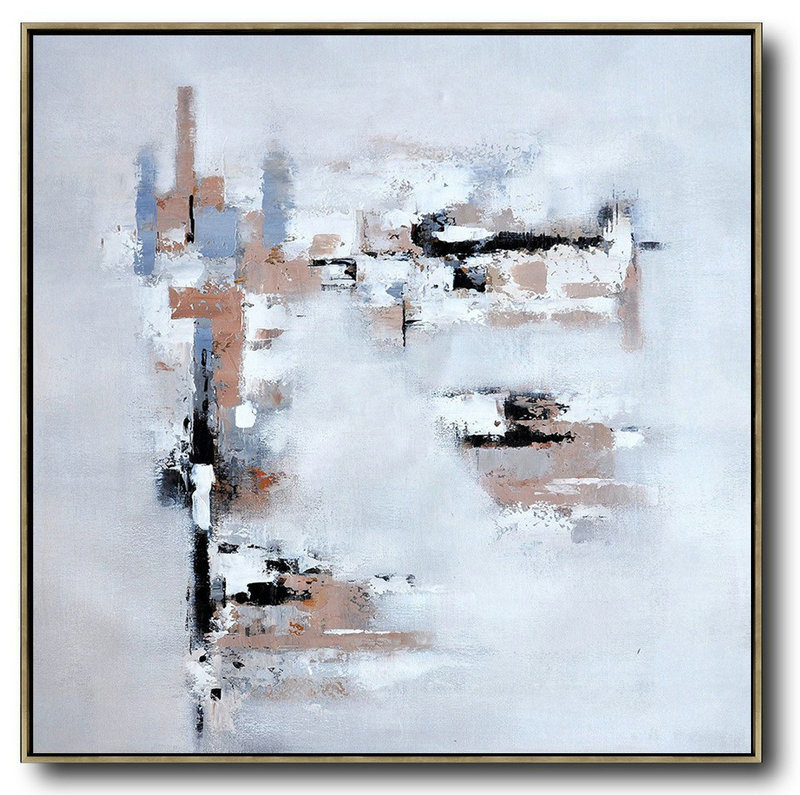 Oversized Contemporary Art,Hand Painted Aclylic Painting On Canvas,Taupe,Grey,White,Black