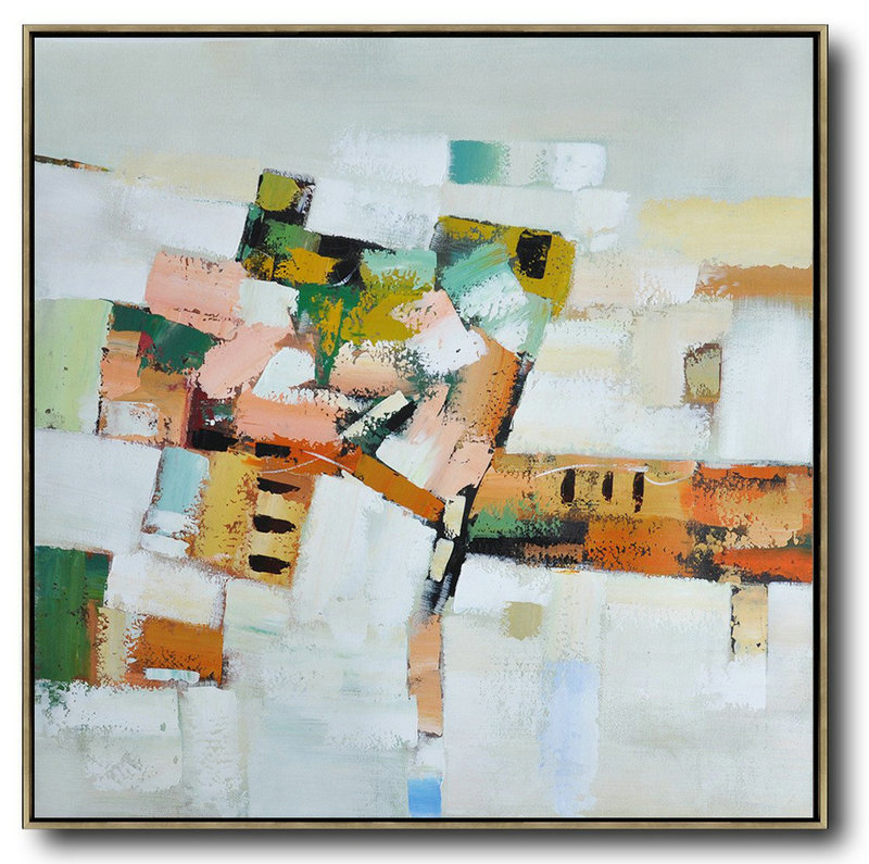 Oversized Contemporary Art,Big Art Canvas,Grey,Orange,Green,Yellow