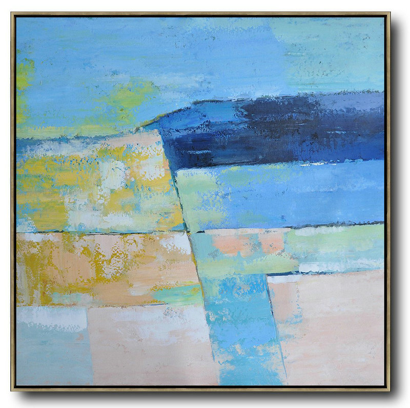 Oversized Contemporary Art,Modern Art Abstract Painting,Blue,Pink,Yellow,Grass Green
