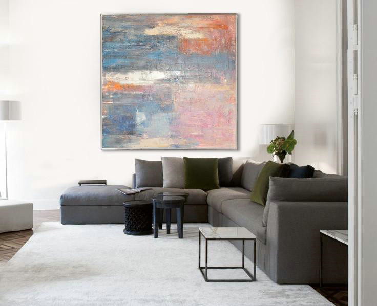 Oversized Contemporary Art,Modern Art Abstract Painting,Pink,Blue,Orange,Beige