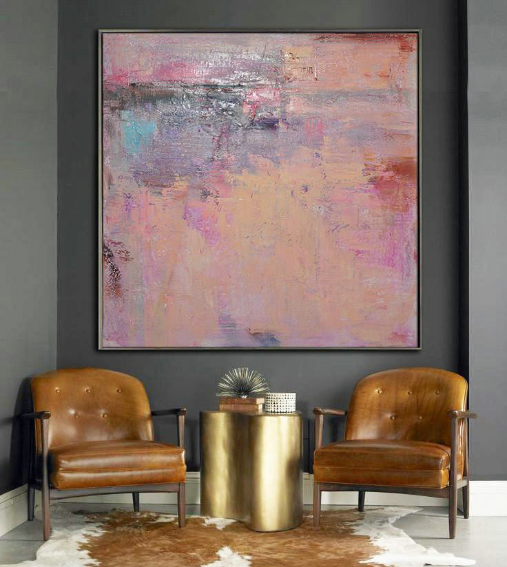 Oversized Contemporary Art,Hand Paint Abstract Painting,Nude,Blue,Purple,Pink