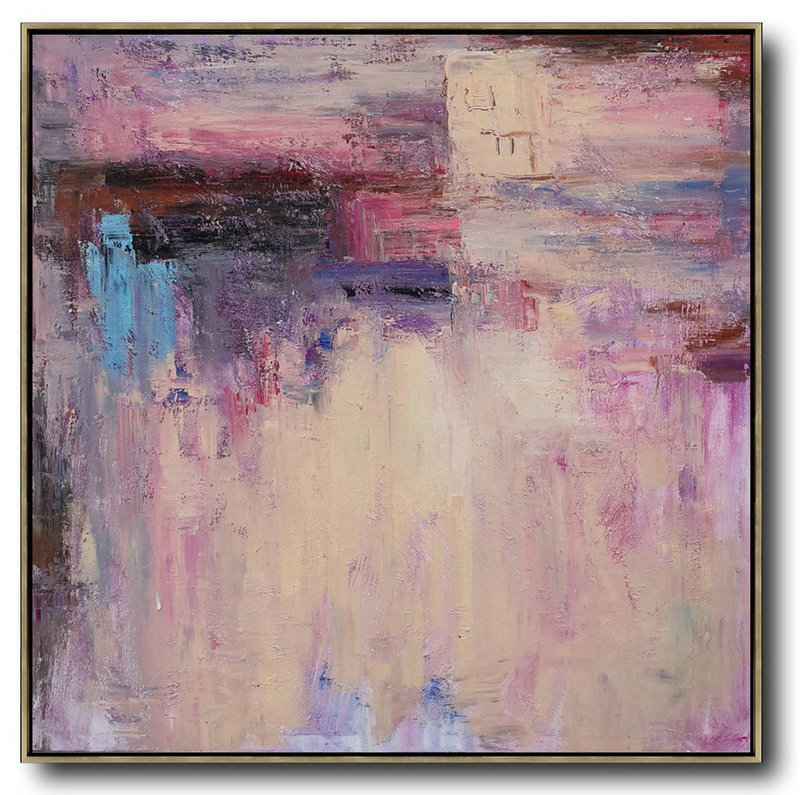 Oversized Contemporary Art,Large Contemporary Art Canvas Painting,Pink,Nude,Blue,Purple