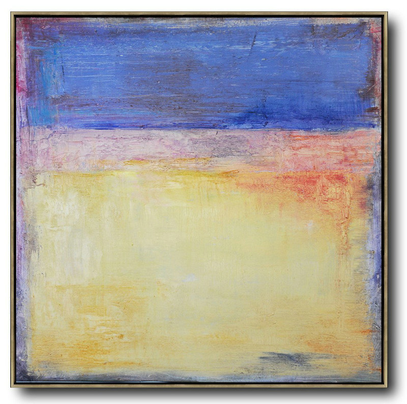 Oversized Contemporary Art,Hand-Painted Contemporary Art,Blue,Yellow,Orange