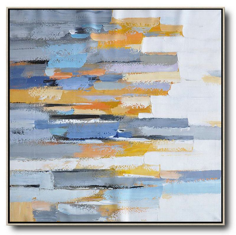 Oversized Contemporary Art,Large Canvas Wall Art For Sale,White,Yellow,Blue,Grey,Orange