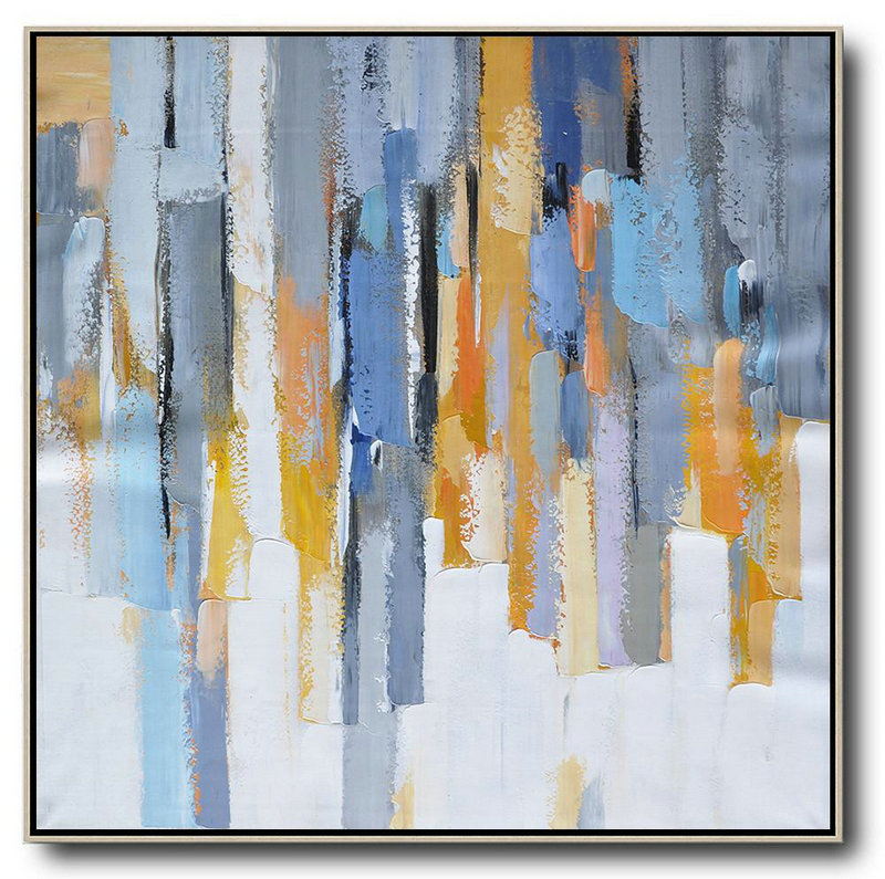 Oversized Contemporary Art,Modern Paintings On Canvas,White,Yellow,Blue,Grey,Orange