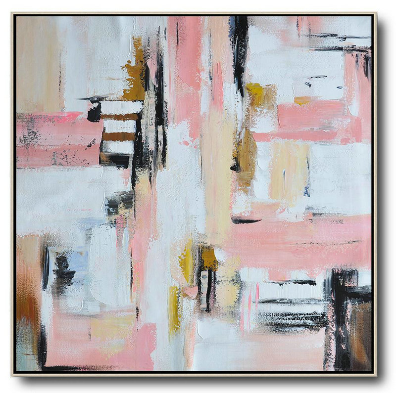 Oversized Contemporary Art,Custom Oil Painting,Pink,White,Yellow,Brown
