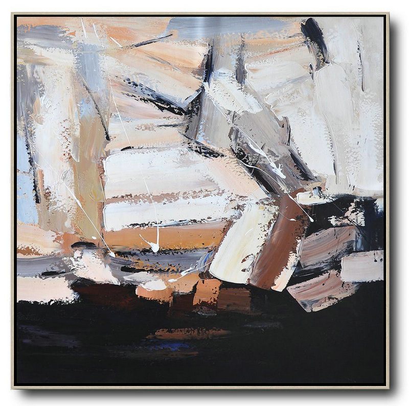 Oversized Contemporary Art,Contemporary Canvas Paintings,Black,Brown,White, Grey | Large Canvas Art