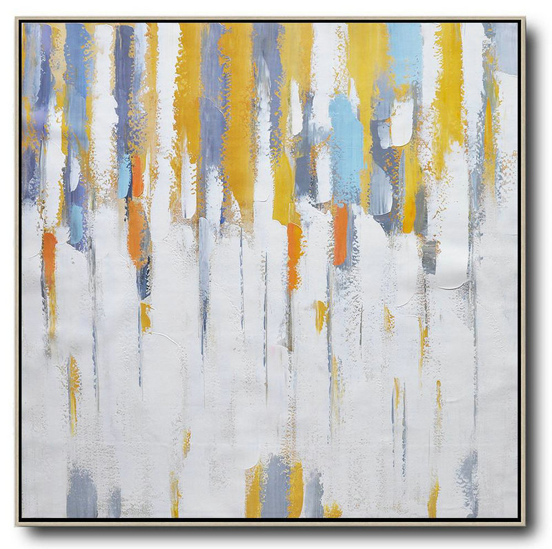 Oversized Contemporary Art,Large Wall Canvas,White,Yellow,Grey,Orange