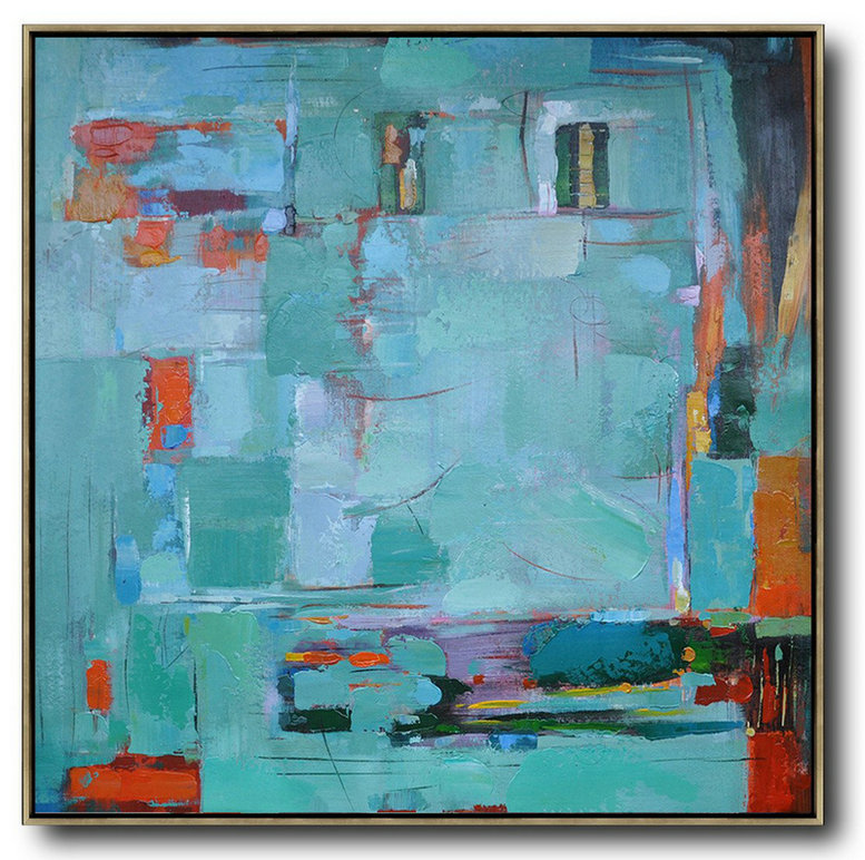 Oversized Contemporary Art,Modern Art Abstract Painting,Green,Blue,Red,Orange