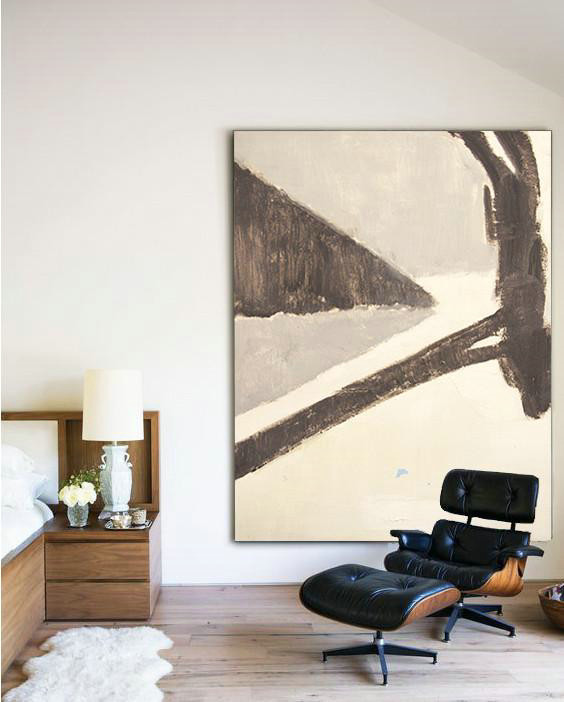 Vertical Palette Knife Contemporary Art,Huge Abstract Canvas Art,White,Grey,Taupe