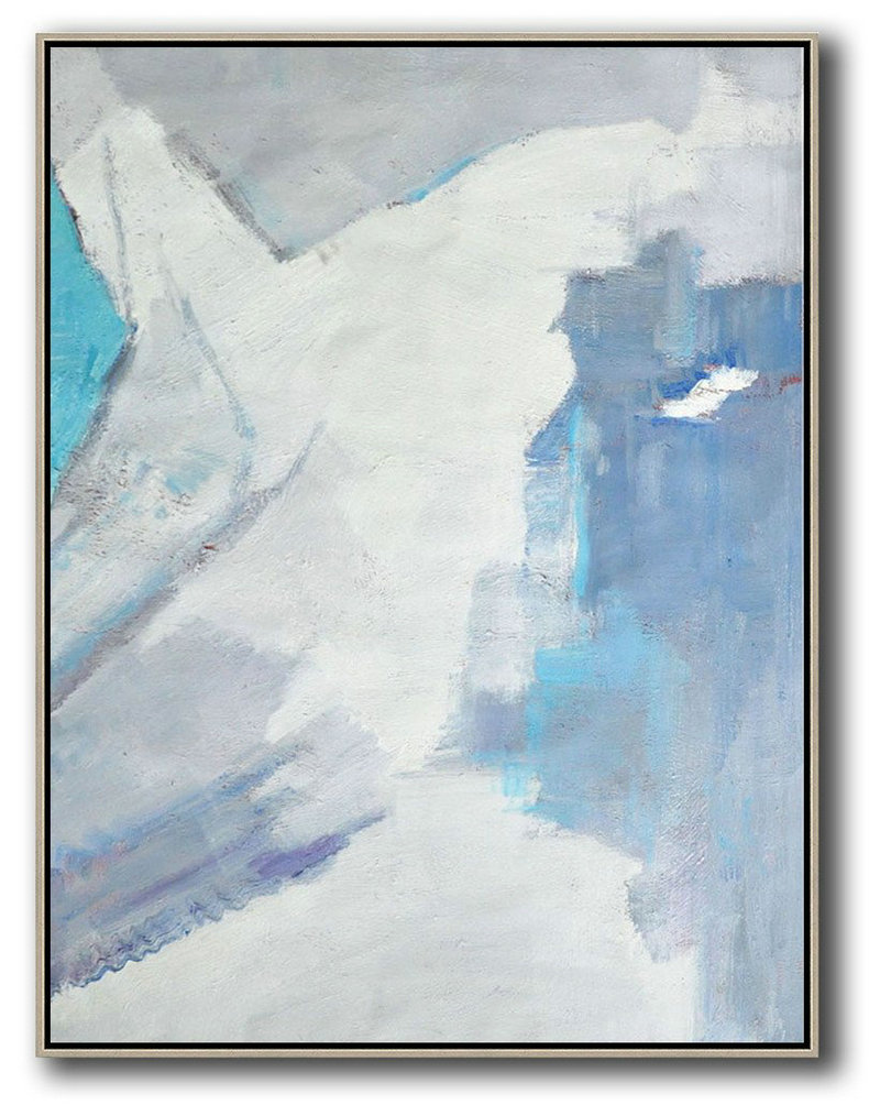 Vertical Palette Knife Contemporary Art,Acrylic Painting On Canvas,White,Grey,Sky Blue