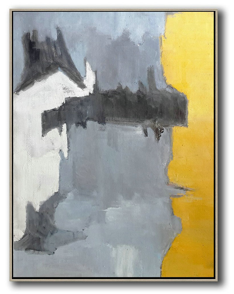 Vertical Palette Knife Contemporary Art,Huge Abstract Canvas Art,White,Grey,Black,Yellow
