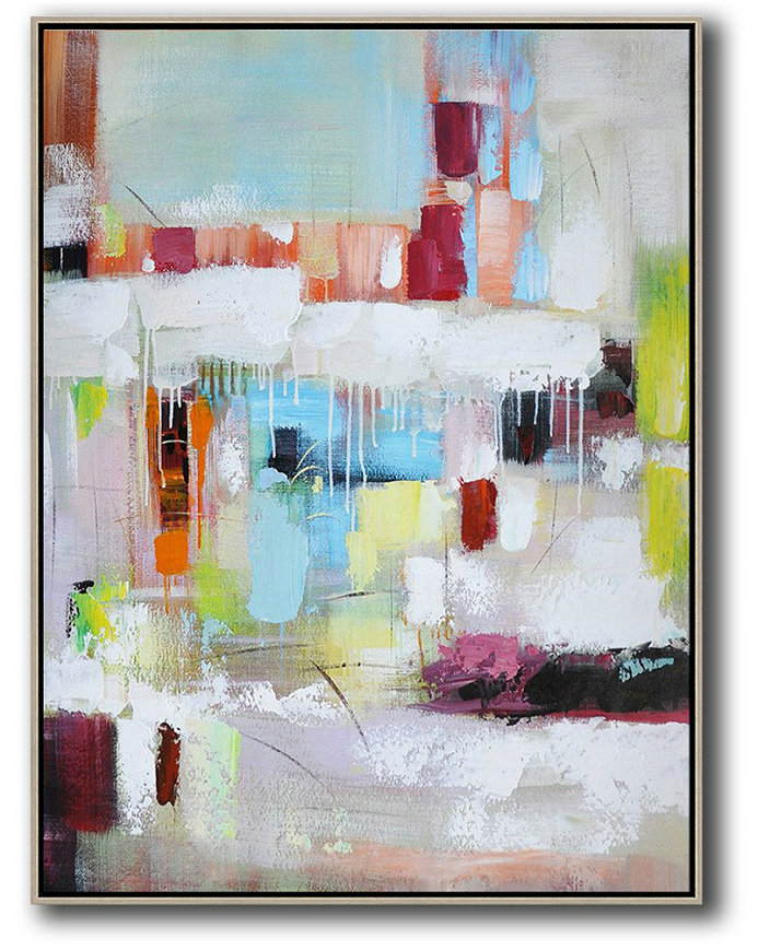 Vertical Palette Knife Contemporary Art,Large Wall Canvas,Blue,White,Red,Orange,Light Green