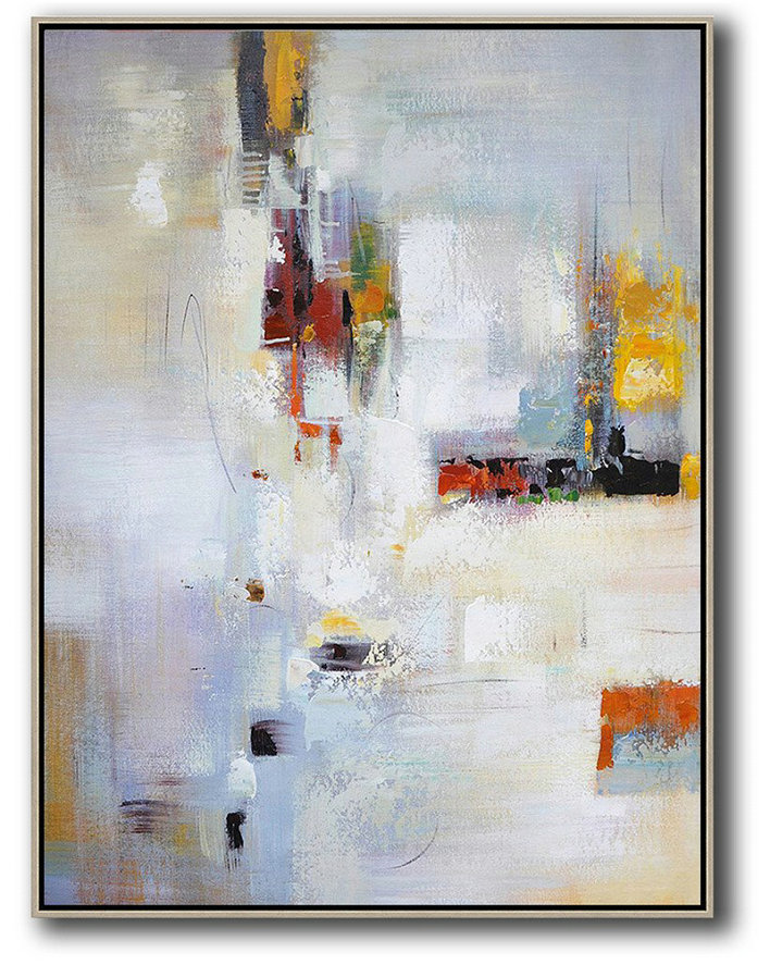 Vertical Palette Knife Contemporary Art,Huge Canvas Art On Canvas,Purplish Grey,White,Red,Yellow,Brown