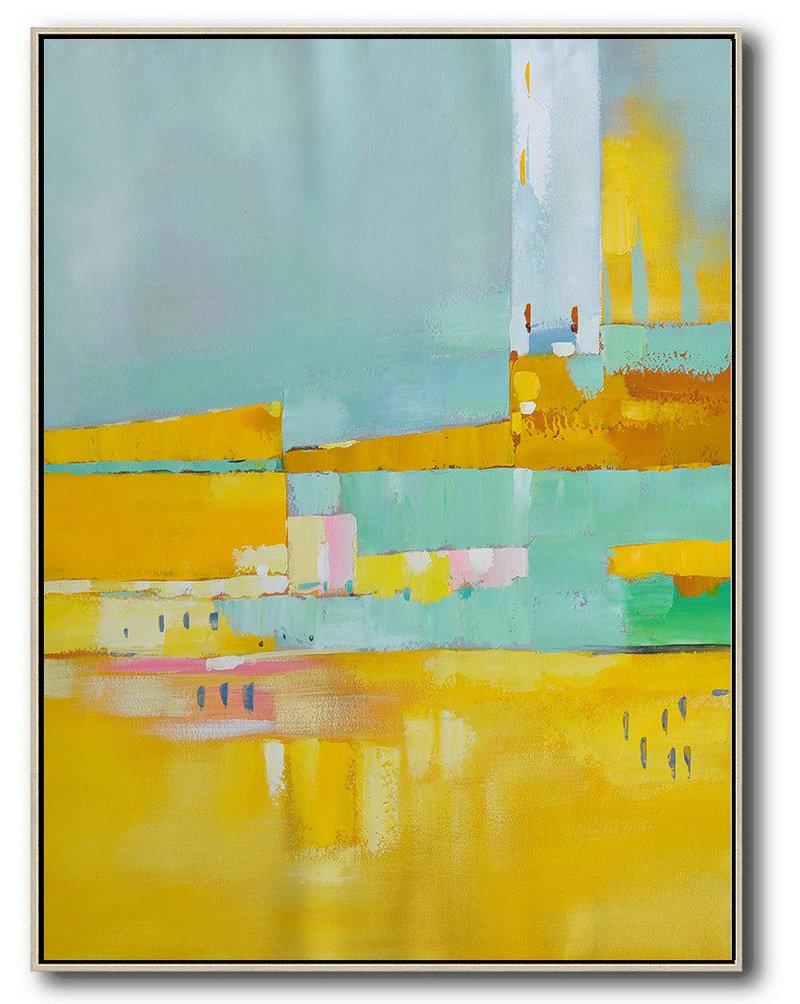Vertical Palette Knife Contemporary Art,Contemporary Art Acrylic Painting,Blue,Yellow,Grey