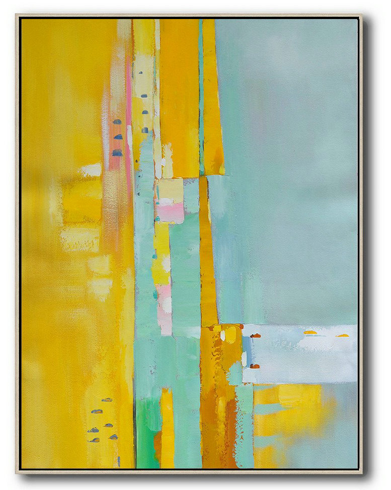 Vertical Palette Knife Contemporary Art,Acrylic Painting On Canvas,Yellow,Blue,Pink