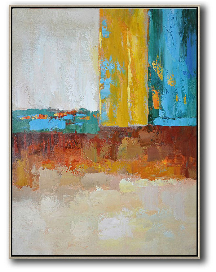 Vertical Palette Knife Contemporary Art,Acrylic Minimailist Painting,White,Grey,Yellow,Blue,Red