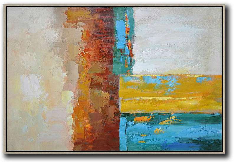 Vertical Palette Knife Contemporary Art,Big Painting,Blue,Red,Yellow,Gray