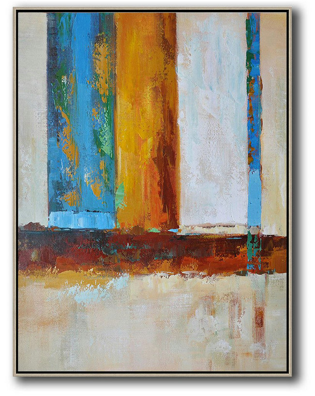 Vertical Palette Knife Contemporary Art,Hand Paint Large Art,Blue,White,Yellow,Red