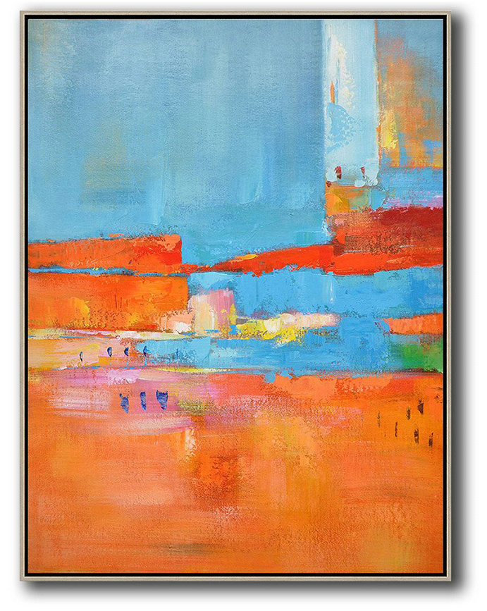 Vertical Palette Knife Contemporary Art,Large Paintings For Living Room,Red,Orange,Sky Blue,Pink