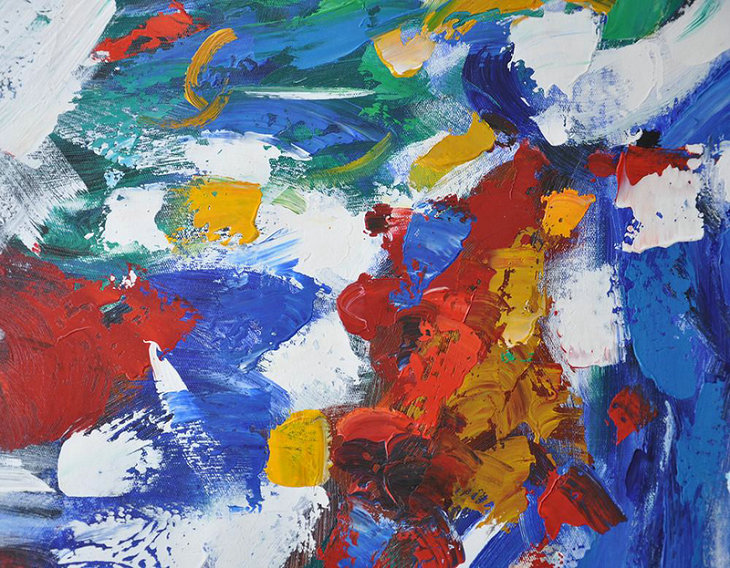 Vertical Palette Knife Contemporary Art,Original Art Acrylic Painting,Blue,White,Yellow,Green,Red