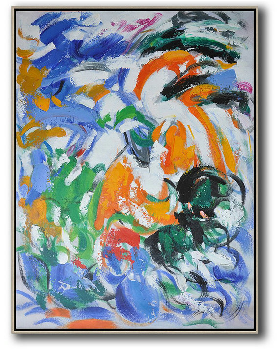 Vertical Palette Knife Contemporary Art,Contemporary Art Canvas Painting,Blue,White,Orange,Green