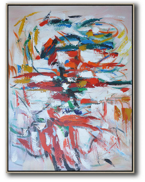 Vertical Palette Knife Contemporary Art,Extra Large Paintings,Red,White,Blue,Orange