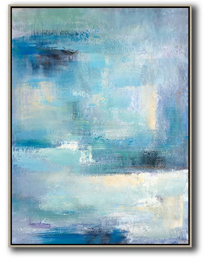 Vertical Palette Knife Contemporary Art,Big Art Canvas,Blue,White,Grey